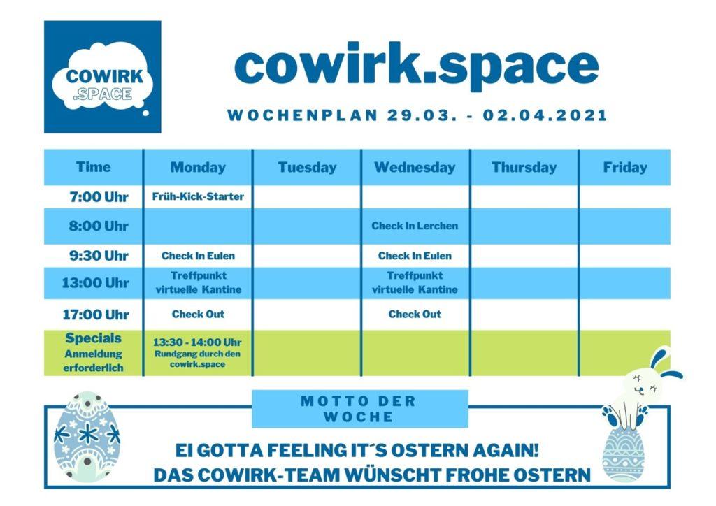 Wochenplan ab 29. März