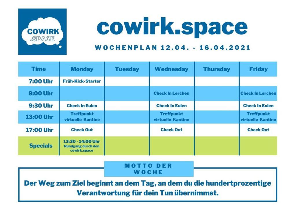 cowirkspace Wochenplan ab 12. April